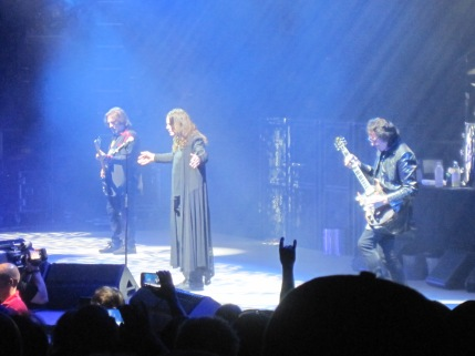Geezer Butler, Ozzy Osbourne and Tony Iommi play at DTE Energy Music Theater Wednesday night.